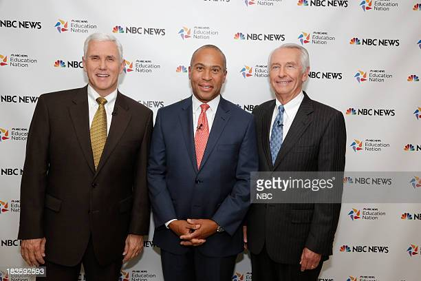 Education Nation Summit -- Pictured: Mike Pence Governor State of Indiana, Deval Patrick Governor State of Massachusetts, Steve Beshear Governor...