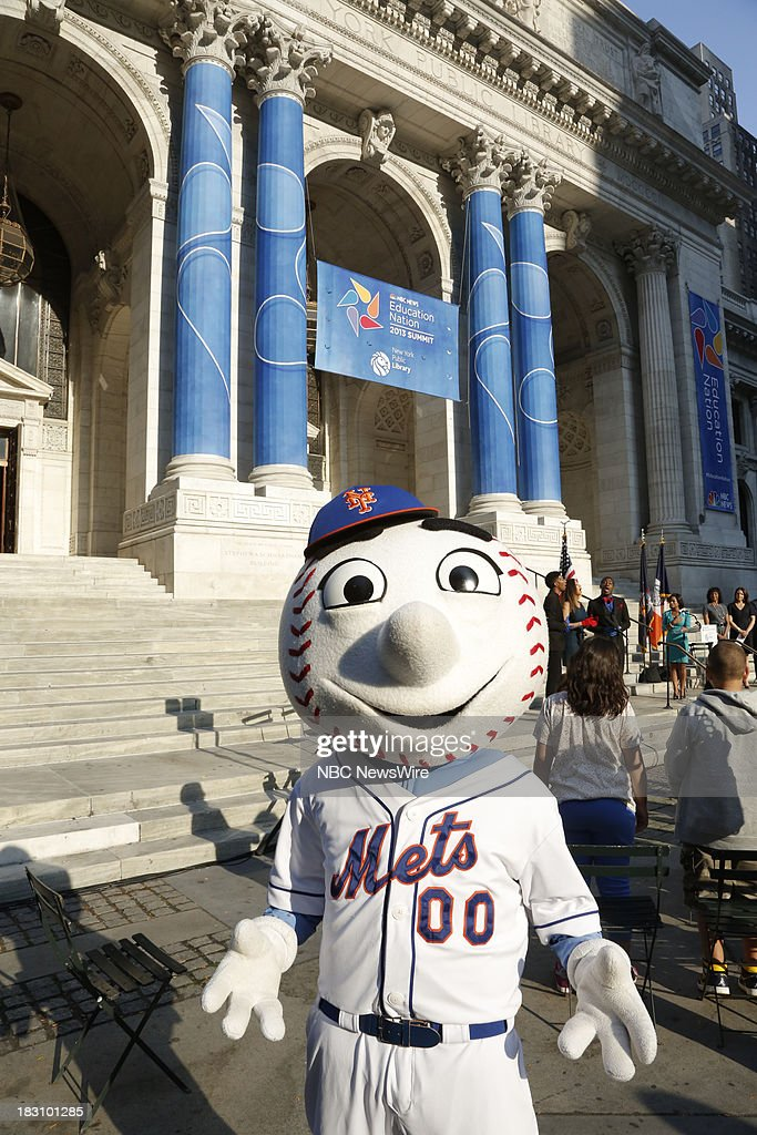 Education Nation Week Opening Ceremony -- Pictured: Mr. Met helps kick off Education Nation Week --