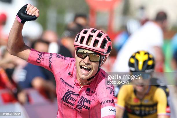 Education - Nippo's Danish rider Magnus Cort Nielsen celebrates as he wins the 6th stage of the 2021 La Vuelta cycling tour of Spain, a 158.3 km race...