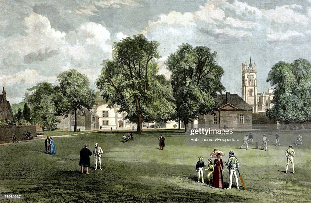 Education. pic: circa 1865. An illustration from The Illustrated London News. This colour illustration shows Winchester College taken from The Meads. : News Photo