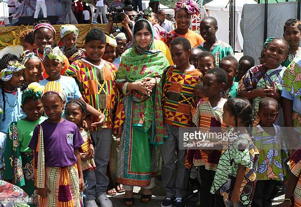 Education rights activist and Nobel Peace Prize nominated Malala Yousafzai of Pakistan visits children's workshops at Emancipation Village on July 31...
