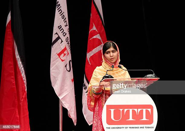 Education rights activist Malala Yousafzai speaks during a fundraiser event as part of 10th Anniversary of the University of Trinidad and Tobago at...