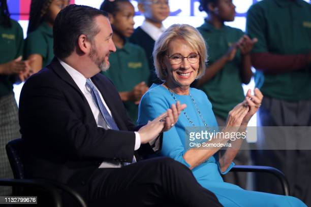 S Education Secretary Betsy DeVos and Sen Ted Cruz participate in an event about their proposal for Education Freedom Scholarships at the Education...