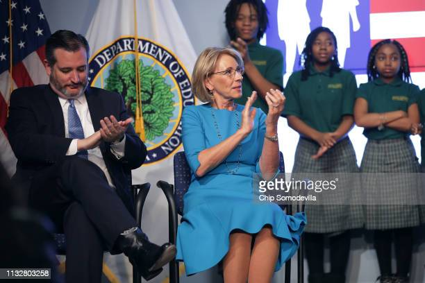 S Education Secretary Betsy DeVos and Sen Ted Cruz participate in an event to promote their proposal for Education Freedom Scholarships at the...