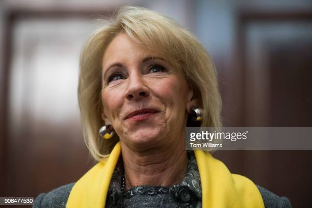 Education Secretary Betsy DeVos attends a rally to promote the importance of school choice as part of National School Choice Week in Russell Building...