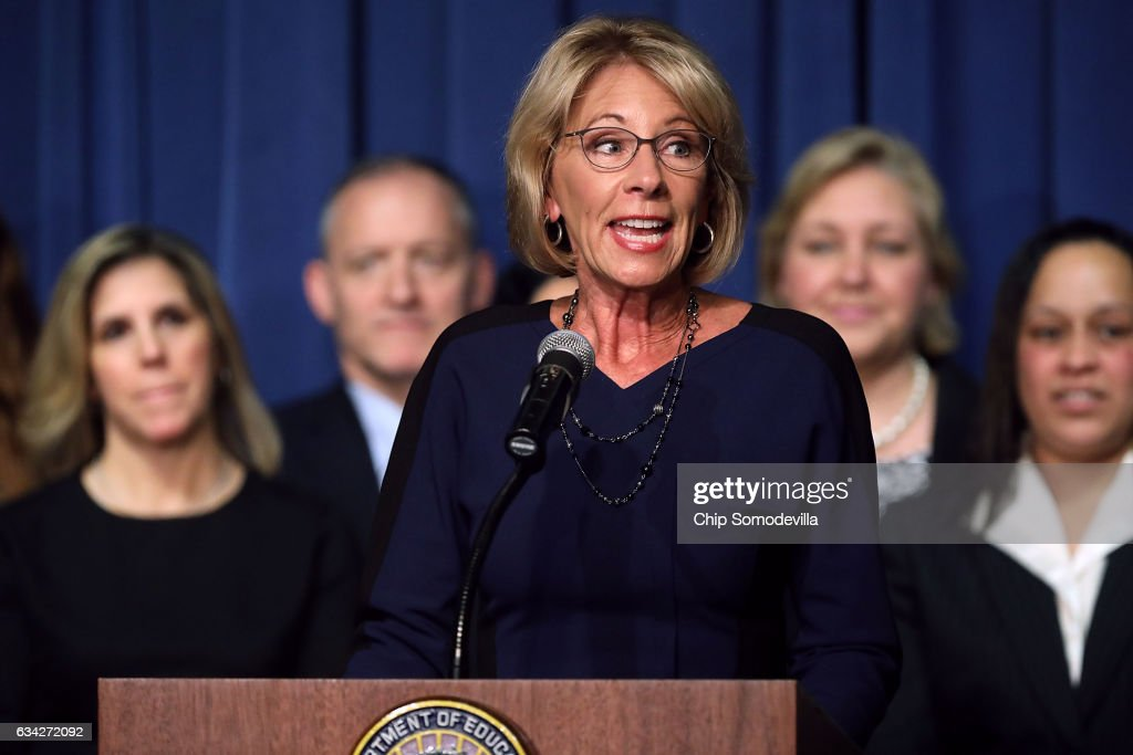 Newly Sworn-In Education Secretary Betsy DeVos Addresses Staff At The Education Department
