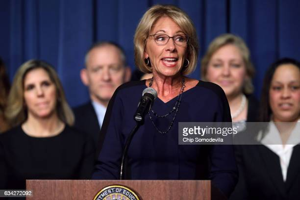 Education Secretary Betsy DeVos delivers remarks to employees on her first day on the job at the Department of Education February 8 2017 in...