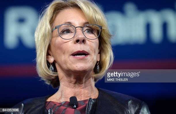 Education Secretary Betsy DeVos makes remarks to the Conservative Political Action Conference at National Harbor Maryland February 23 2017 / AFP /...
