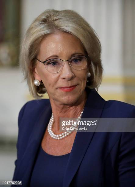 S Education Secretary Betsy DeVos participates in a meeting of the Federal Commission on School Safety in the Indian Treaty Room in the Eisenhower...