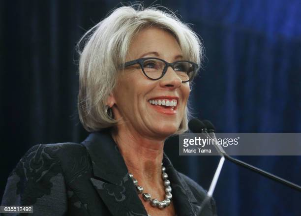 Education Secretary Betsy DeVos speaks at the Magnet Schools Of America Conference on February 15 2017 in Washington DC DeVos addressed a recent...