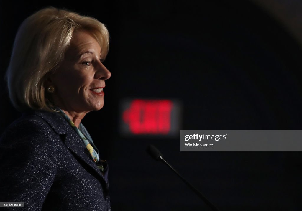 U.S. Education Secretary Betsy DeVos speaks at the National Parent-Teacher Association's 2018 Legislative Conference March 13, 2018 in Arlington, Virginia. DeVos spoke on the administration's plan 'to improve school safety and the importance of parent and family engagement in education.'
