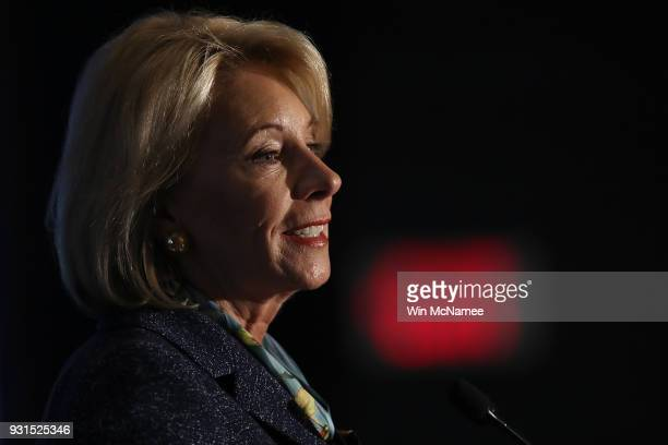 S Education Secretary Betsy DeVos speaks at the National ParentTeacher Association's 2018 Legislative Conference March 13 2018 in Arlington Virginia...
