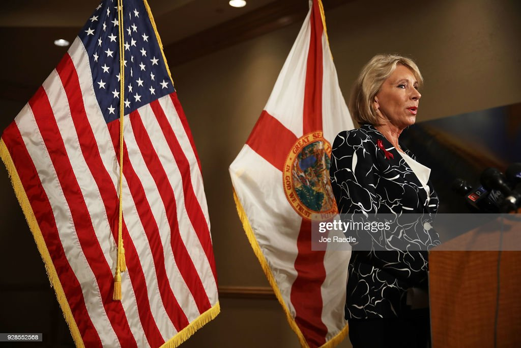 U.S. Education Secretary Betsy DeVos speaks to the news during a press conference held at the Heron Bay Marriott about her visit to Marjory Stoneman Douglas High School in Parkland on March 7, 2018 in Coral Springs, Florida. DeVos was visiting the high school following the February 14 shooting that killed 17 people.