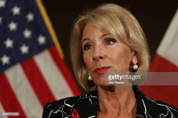 S Education Secretary Betsy DeVos speaks to the news during a press conference held at the Heron Bay Marriott about her visit to Marjory Stoneman...