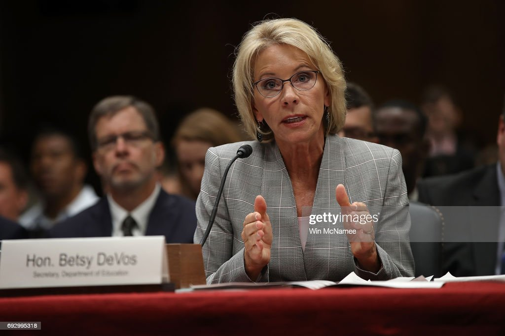 Education Secretary Betsy DeVos Testifies To Senate Hearing On Budget Of Department : News Photo