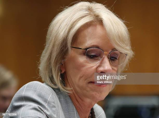 Education Secretary Betsy DeVos testifies during a Senate Appropriations Subcommittee hearing on Capitol Hill June 5 2018 in Washington DC The...
