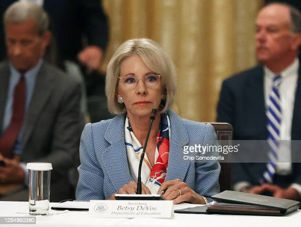 Education Secretary Betsy DeVosattends an event hosted by U.S. President Donald Trump with students, teachers and administrators about how to safely...
