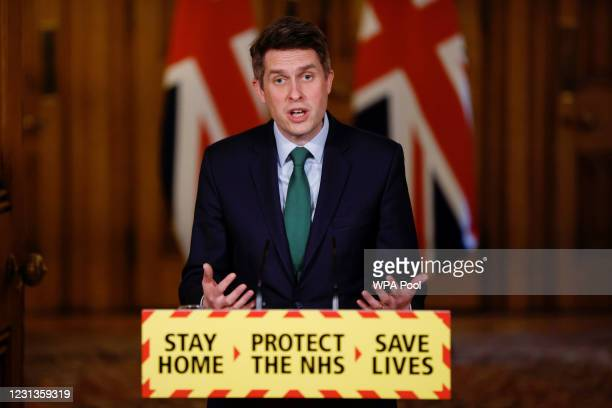 Education Secretary Gavin Williamson holds a virtual news conference at 10 Downing Street on February 24, 2021 in London, England.