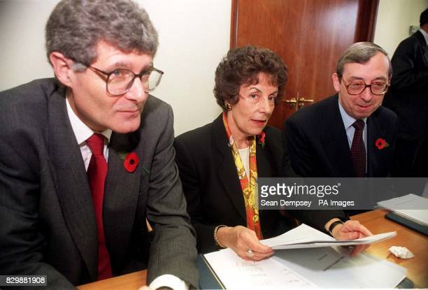 Education Secretary Gillian Shephard with Chris Woodhead Chief Inspector of Schools and Mike Tomlinson head of the inspection team sent to the...