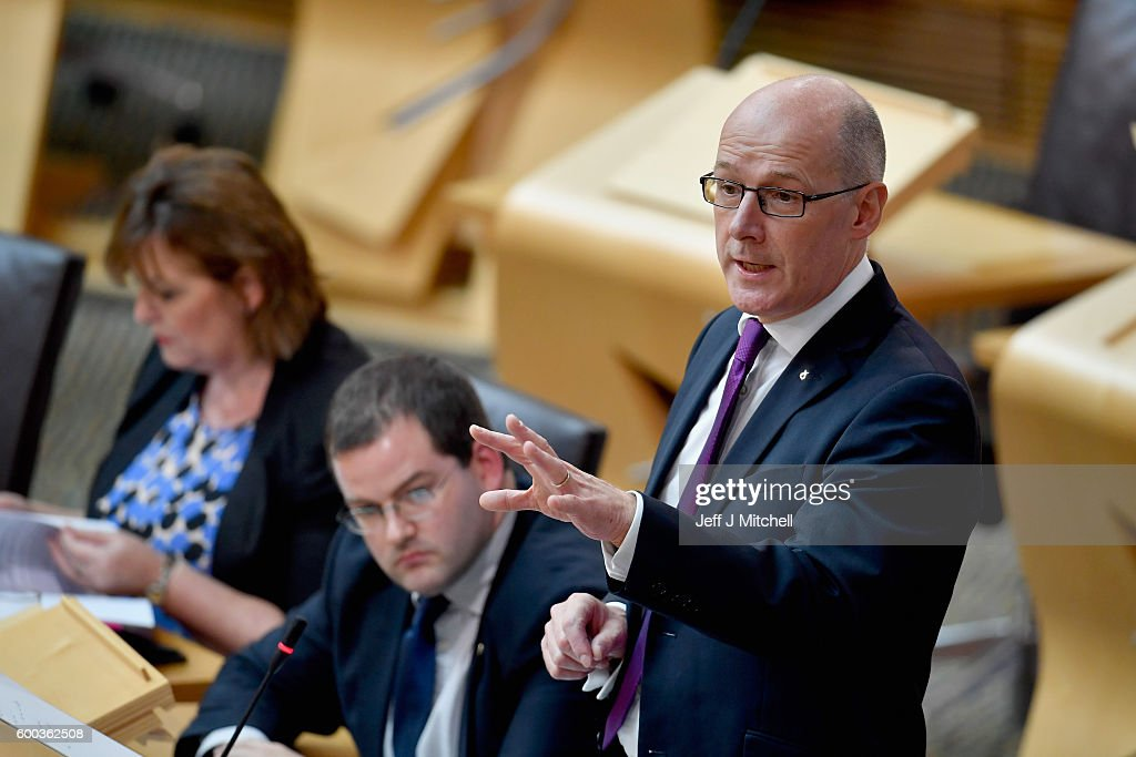 Education Secretary John Swinney gives the Scottish Parliament an update on the SNP named persons scheme on September 8, 2016 in Edinburgh, Scotland. Mr Swinney told members of the Scottish Parliament that the Scottish government hopes to implement its named person scheme by August, 2017 after a period of intense engagement on amendments.