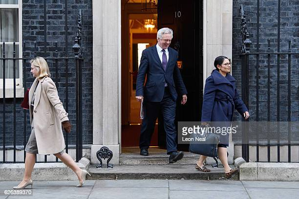 Education Secretary Justine Greening Brexit Secretary David Davis and International Development Secretary Priti Patel leave following a Cabinet...