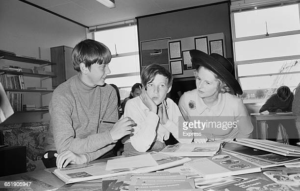 Education Secretary Margaret Thatcher visits the Augustus Smith School in Berkhamsted Hertfordshire and talks to pupils Paul Smith and David Branson...