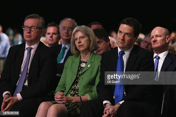 Education Secretary Michael Gove Home Secretary Theresa May and Chancellor George Osborne listen to British Prime Minister David Cameron deliver his...