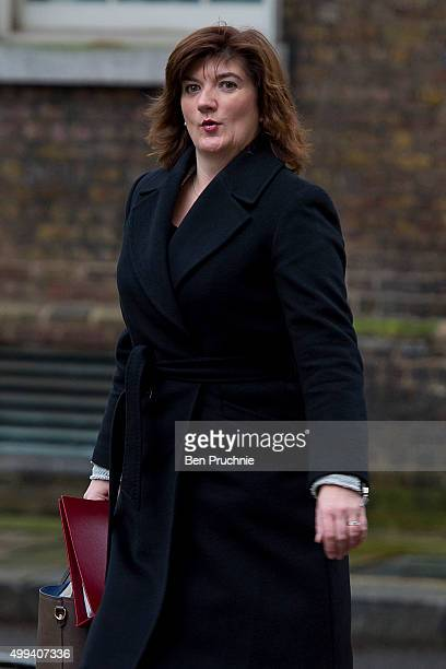 Education Secretary Nicky Morgan arrives at Downing Street for a cabinet meeting on December 1 2015 in London England Prime Minister David Cameron...