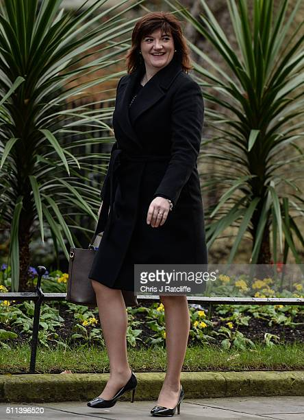 Education Secretary Nicky Morgan arrives at Downing Street on February 20 2016 in London England Mr Cameron has returned to London after securing a...
