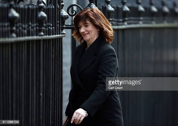 Education Secretary Nicky Morgan arrives for a cabinet meeting at Downing Street on February 20 2016 in London England David Cameron has returned...