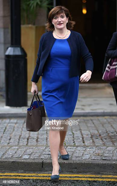 Education Secretary Nicky Morgan arrives for the fourth and final day of the Conservative Party Conference at Manchester Central on October 7 2015 in...