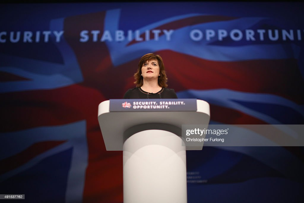 Education Secretary Nicky Morgan delivers her keynote speech to delegates during the Conservative Party Conference on October 6, 2015 in Manchester, England. Home Secretary Theresa May addressed delegates on day three of the Conservative Party conference at Manchester Central and warned that it is 'impossible to build a cohesive society' and the UK needs to have an immigration limit.
