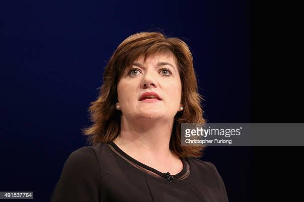 Education Secretary Nicky Morgan delivers her keynote speech to delegates during the Conservative Party Conference on October 6 2015 in Manchester...