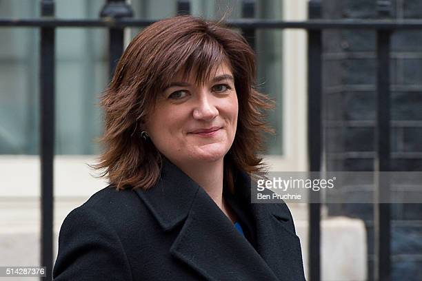 Education Secretary Nicky Morgan departs Number 10 Downing Street after attending a cabinet meeting on March 8 2016 in London England Government...