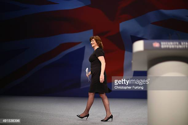 Education Secretary Nicky Morgan leaves the stage after delivering her keynote speech to delegates during the Conservative Party Conference on...