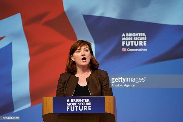 Education Secretary Nicky Morgan speaking at the Conservative Party manifesto launch ahead of the UK general election in at UTC Swindon College in...