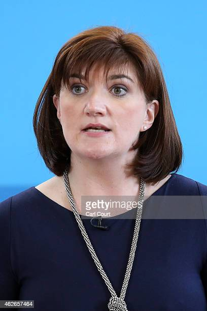 Education Secretary Nicky Morgan speaks during a visit with Prime Minister David Cameron to Kingsmead School on February 2 2015 in north London...