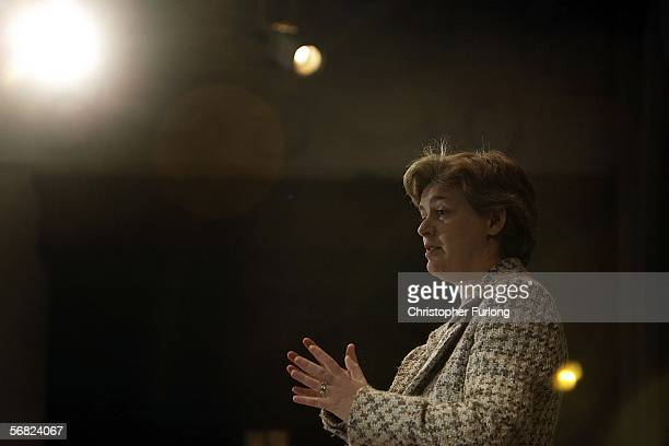Education Secretary Ruth Kelly addresses a plenary meeting on education at the Imperial Hotel during Labour's spring conference in Blackpool on...