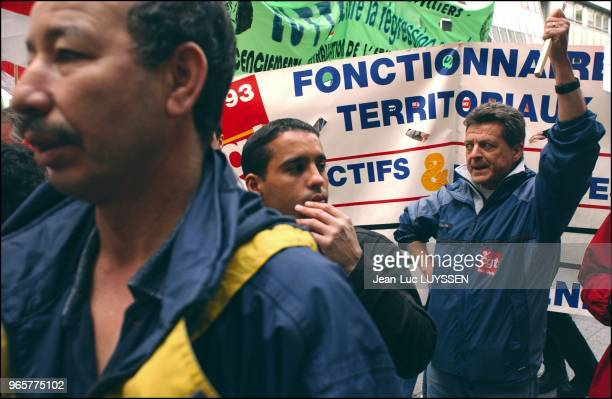 Education workers of the Seine St Denis department demonstrate against the French government's pension reform along with metal workers and...