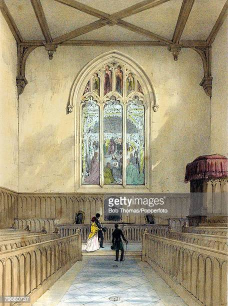 Education/Public Schools Rugby School Warwickshire England This colour illustration shows Rugby School The Chapel looking East showing the fine...