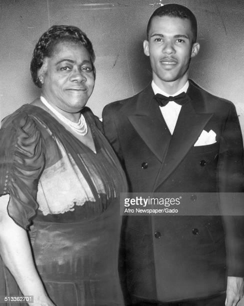 Educator and Civil Rights activist Mary McLeod Bethune and Albert Bethune Jr posing at Metropolitan AME church February 12 1940