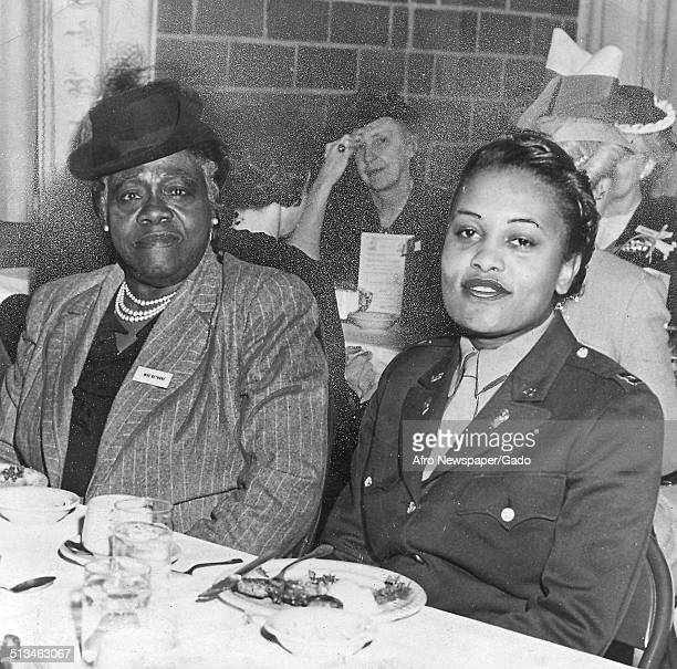 Educator and Civil Rights activist Mary McLeod Bethune and Covey M Johnson at Fort Des Moines Des Moines Iowa November 19 1959