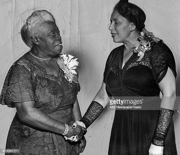 Educator and Civil Rights activist Mary McLeod Bethune and Dorothy Ferebee shaking hands 1938