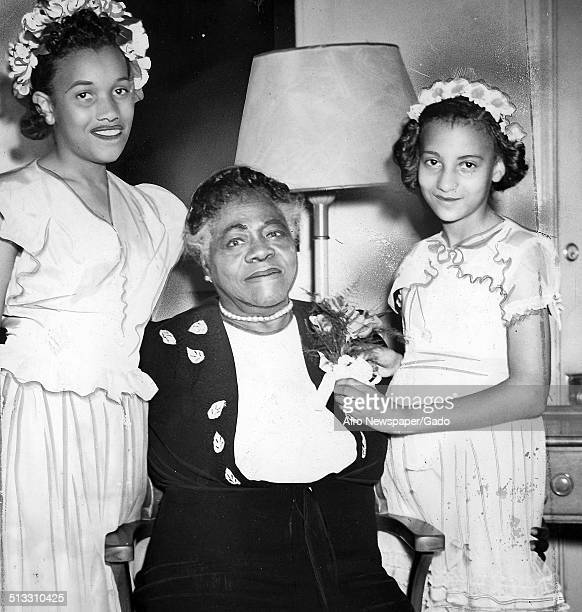Educator and Civil Rights activist Mary McLeod Bethune and granddaughters embracing July 6 1946