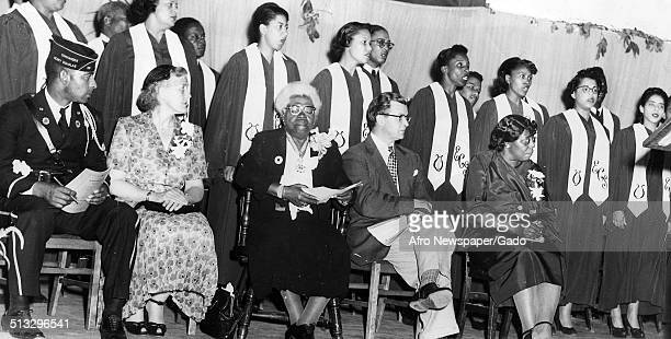 Educator and Civil Rights activist Mary McLeod Bethune and students during a banquet 1950