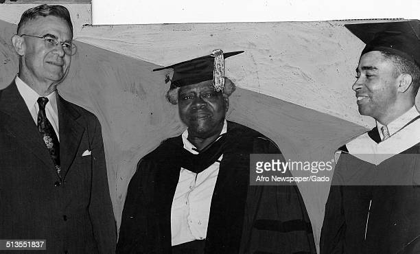 Educator and Civil Rights activist Mary McLeod Bethune and two men standing during a graduation ceremony 1950