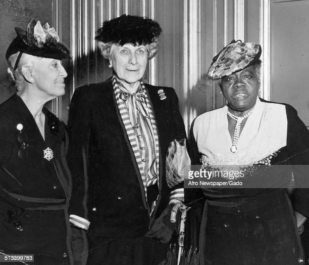 Educator and Civil Rights activist Mary McLeod Bethune and two women October 21 1944