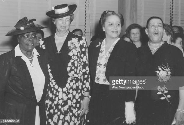 Educator and Civil Rights activist Mary McLeod Bethune former United States First Lady Eleanor Roosevelt and politicians during a banquet May 22 1943