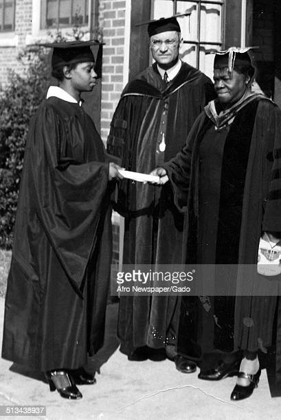 Educator and Civil Rights activist Mary McLeod Bethune Mary Lynch and Richard S Grossley receiving an award at Dover State College during a...