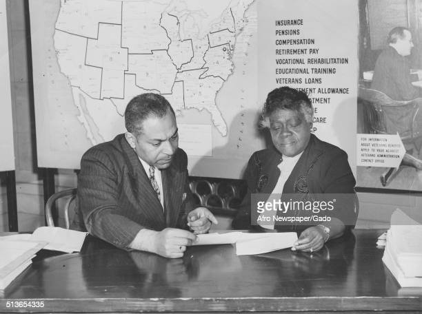 Educator and Civil Rights activist Mary McLeod Bethune reading a document 1940